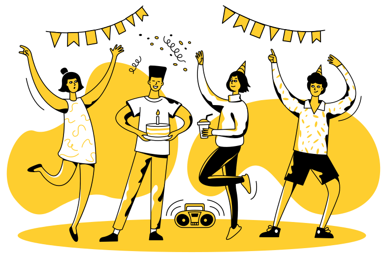 Teen party Clipart illustration in PNG, SVG