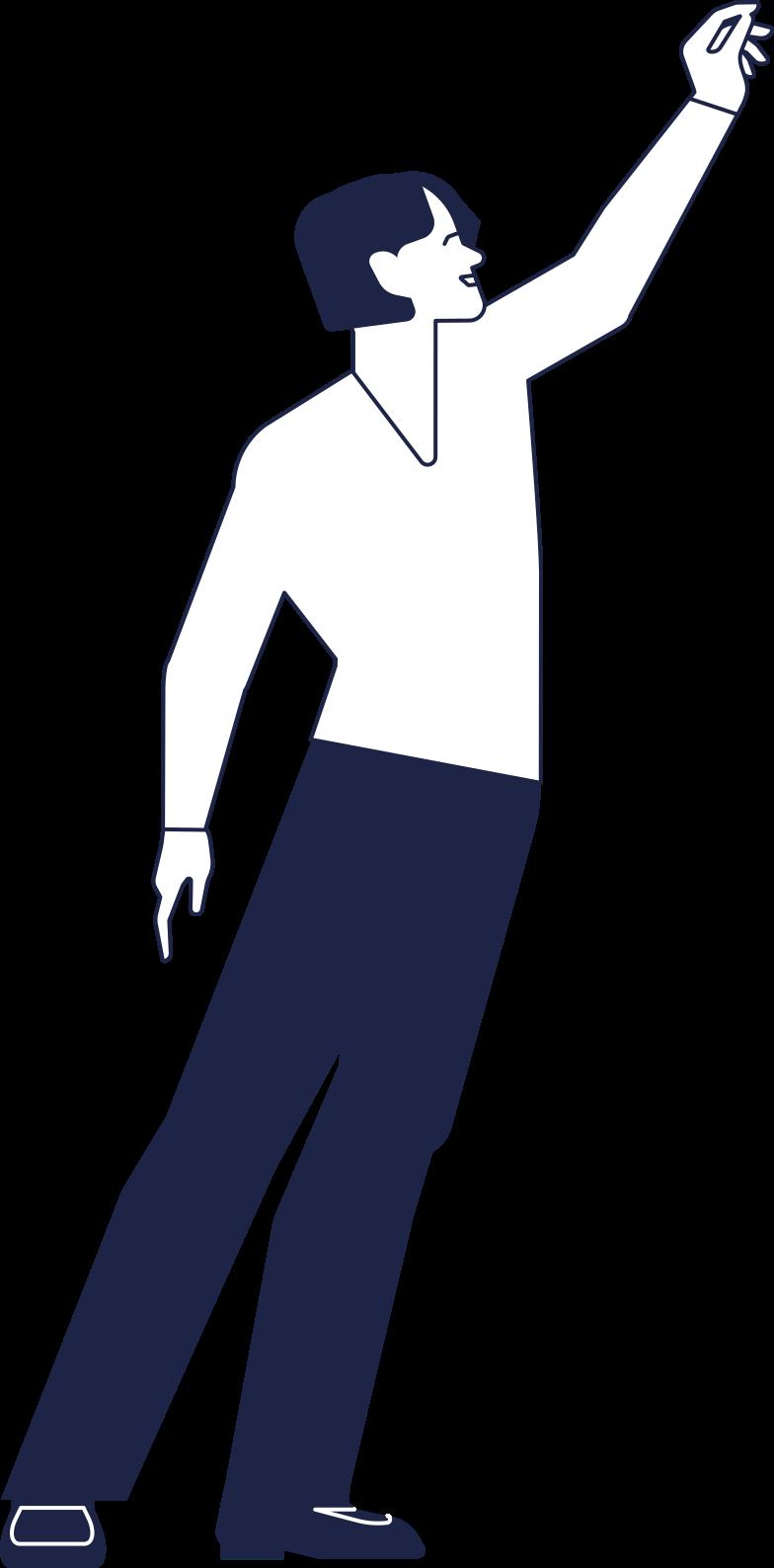 Homem com a mão levantada Clipart illustration in PNG, SVG