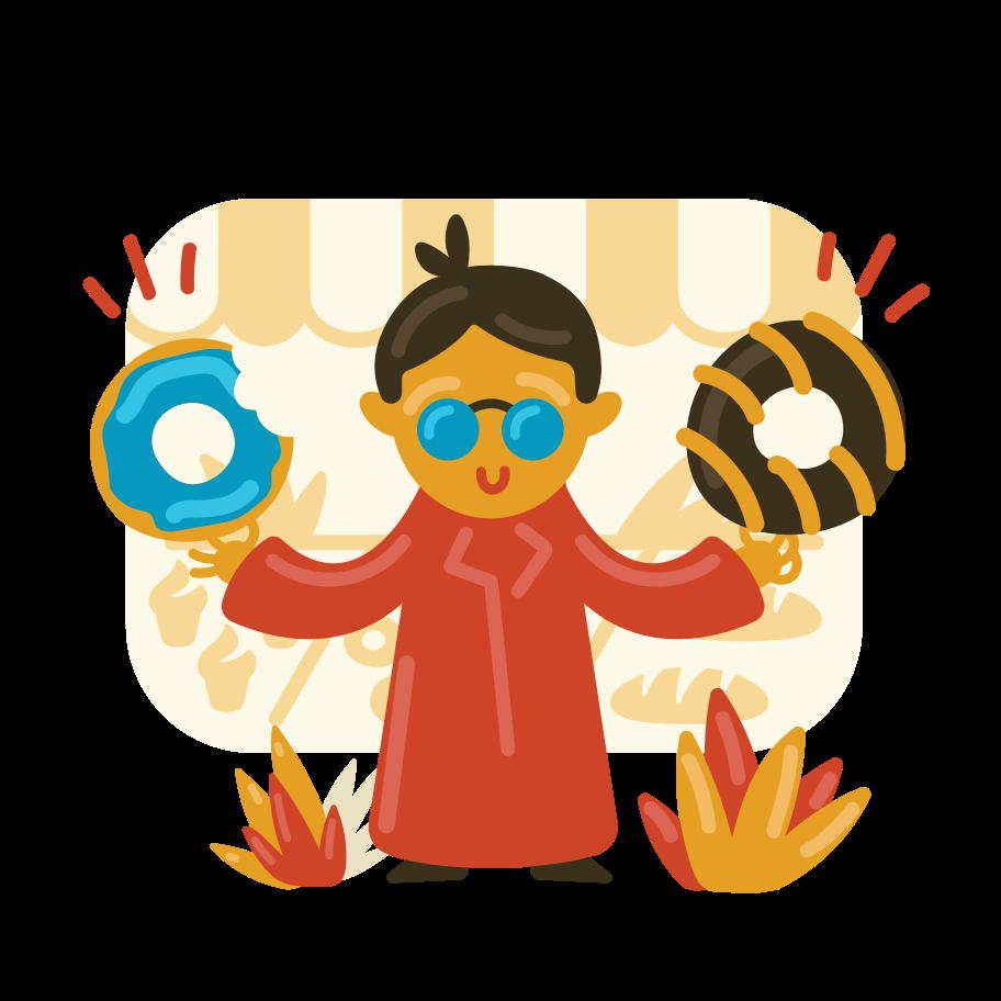 Donuts lover Clipart illustration in PNG, SVG