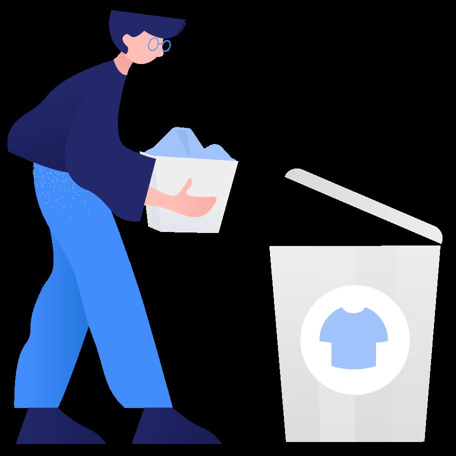Waste sorting- textile Clipart illustration in PNG, SVG