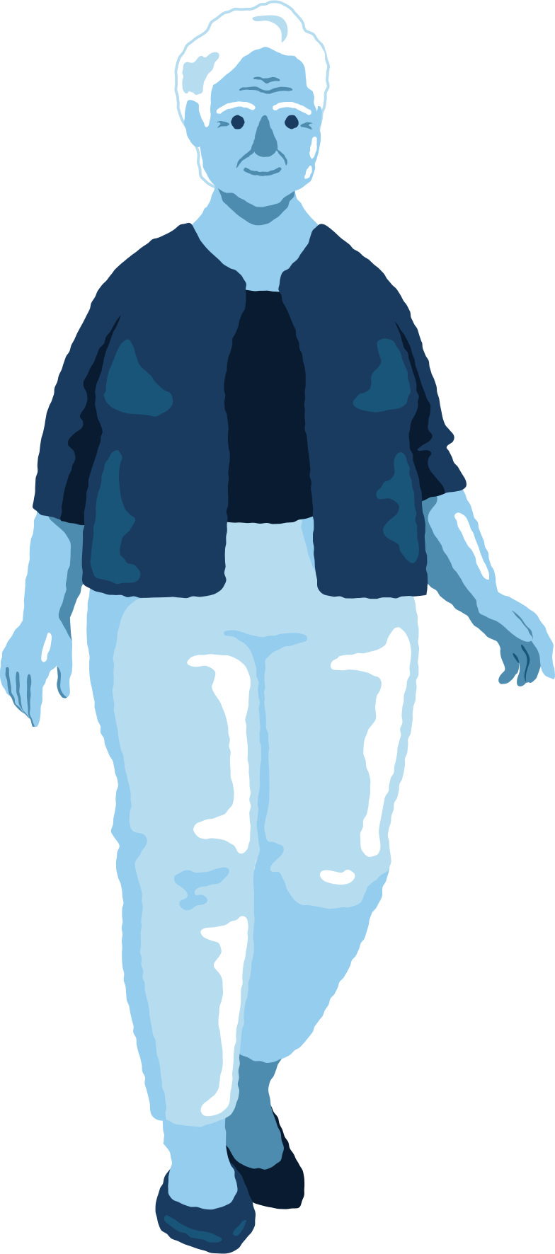old curvy woman standing front Clipart illustration in PNG, SVG