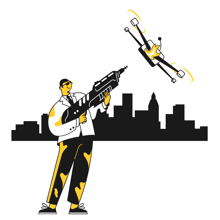Shooting down a drone Clipart illustration in PNG, SVG