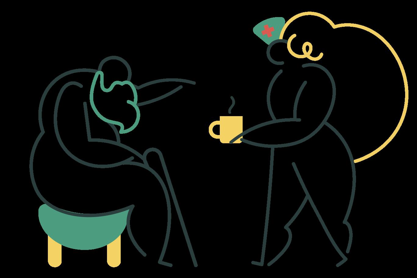 Senior care Clipart illustration in PNG, SVG