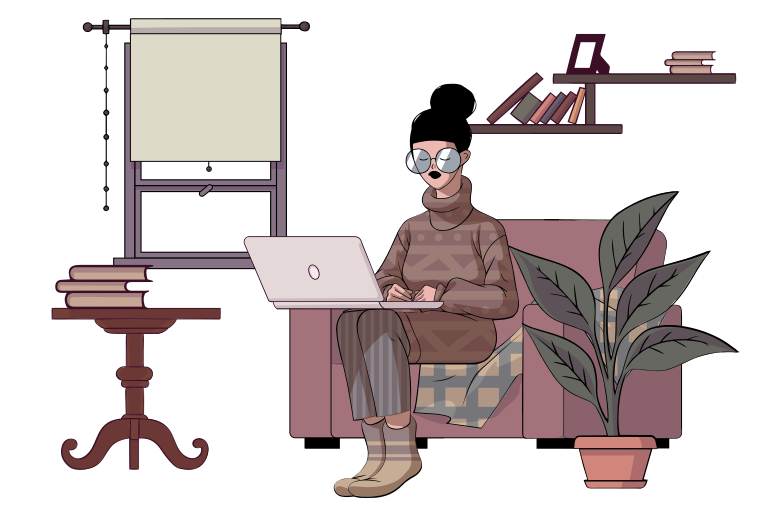 Staying home, working remotely, isolated and safe Clipart illustration in PNG, SVG