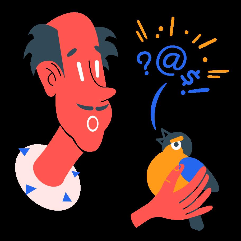 Ilustración de clipart de Pájaro que jura en PNG, SVG