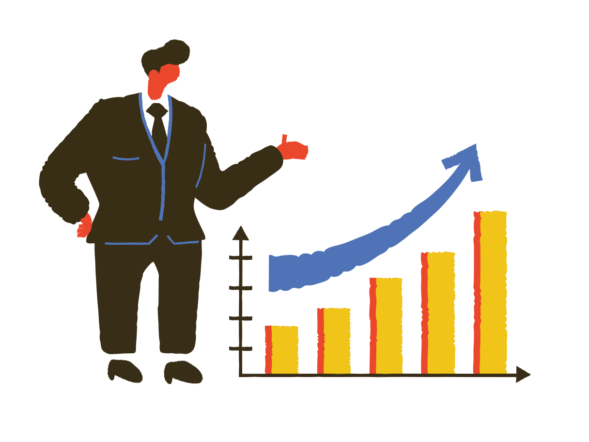 Businessman and project success graph Clipart illustration in PNG, SVG
