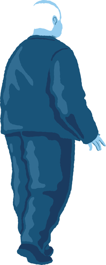 old chubby man standing back Clipart illustration in PNG, SVG