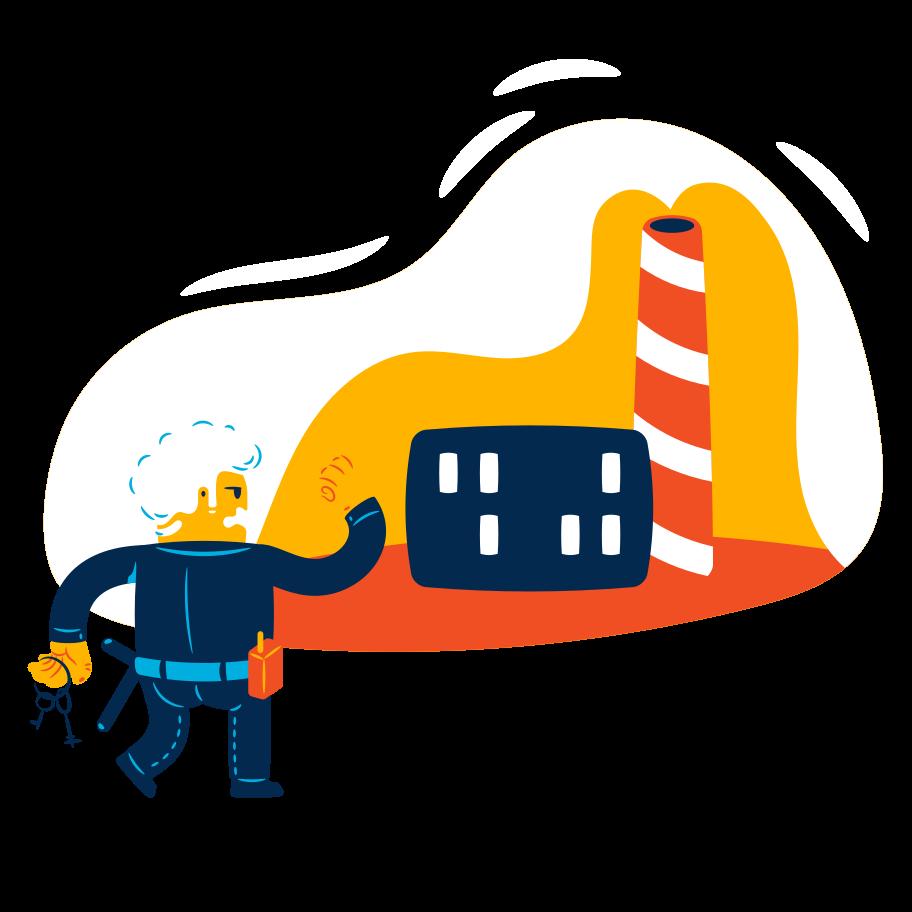 Ilustração de clipart de Guarda de segurança em serviço em PNG e SVG