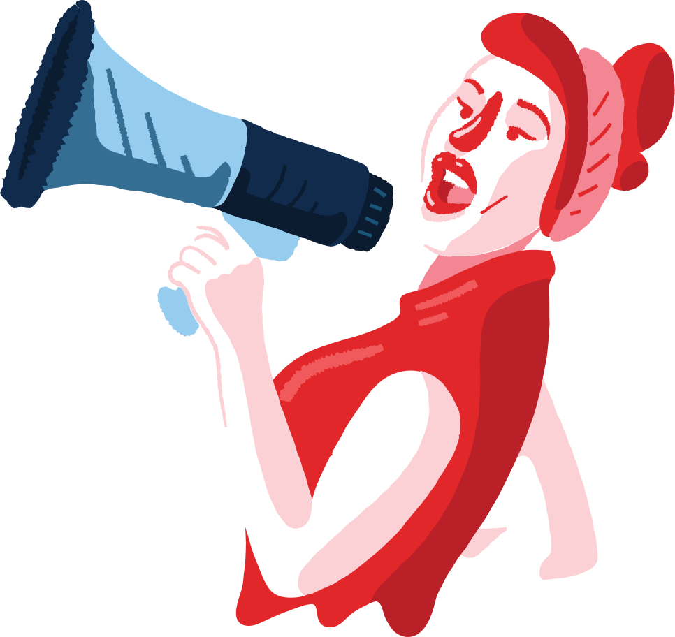 woman with a loudspeaker Clipart illustration in PNG, SVG