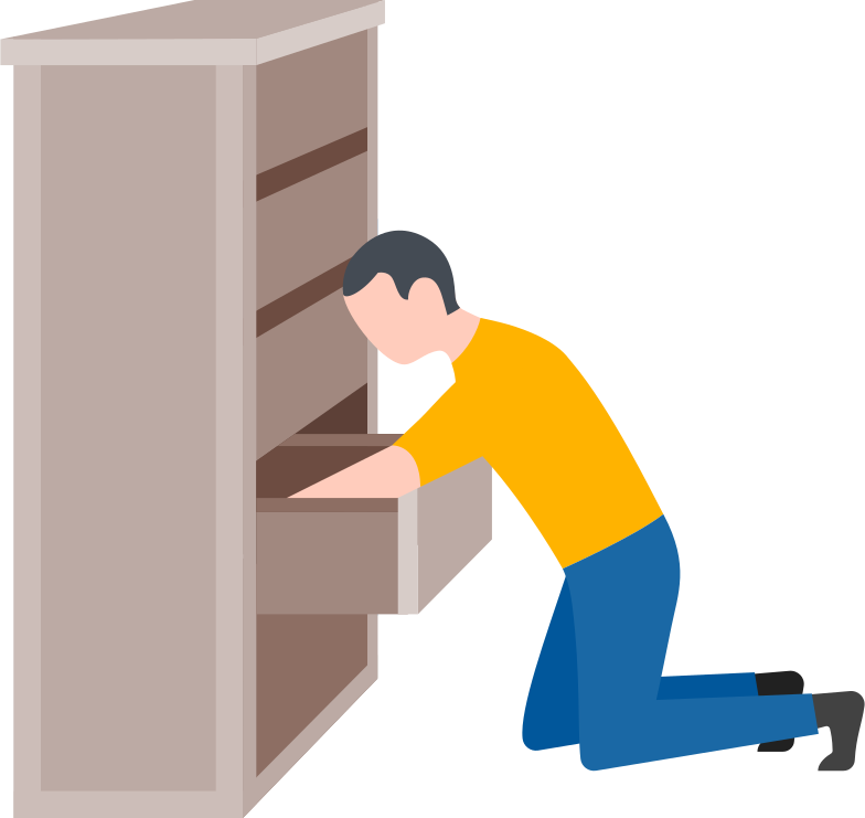 man searching in the drawer Clipart illustration in PNG, SVG
