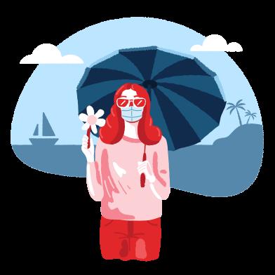 Иллюстрация девушка на пляже с зонтиком. ношение медицинской маски. в стиле  в PNG и SVG | Icons8 Иллюстрации