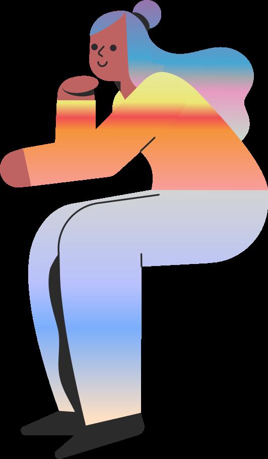 Ilustración de clipart de mujer sentada en PNG, SVG