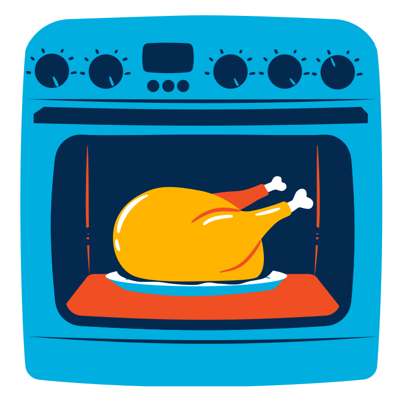 Baked chicken Clipart illustration in PNG, SVG