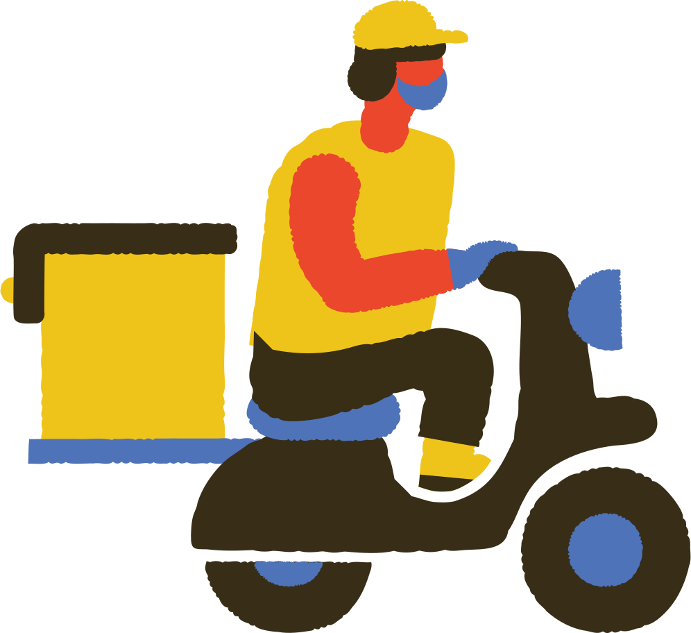 masked food delivery man on scooter Clipart illustration in PNG, SVG