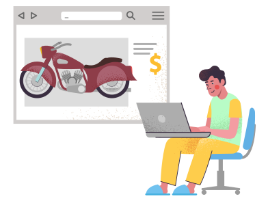 style Buy a motorcycle on the internet images in PNG and SVG | Icons8 Illustrations
