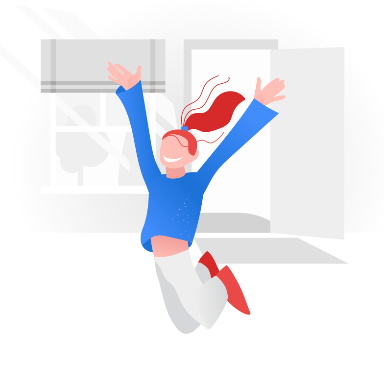 style End of quarantine. Happy and joyful girl Vector images in PNG and SVG | Icons8 Illustrations