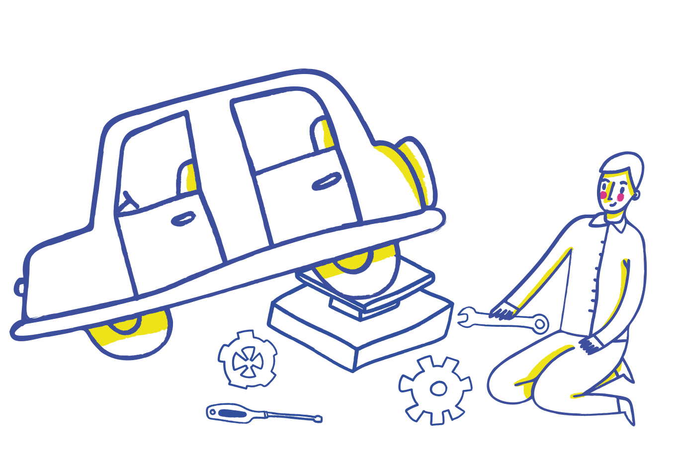 style Car repairing, wheel replacement Vector images in PNG and SVG | Icons8 Illustrations