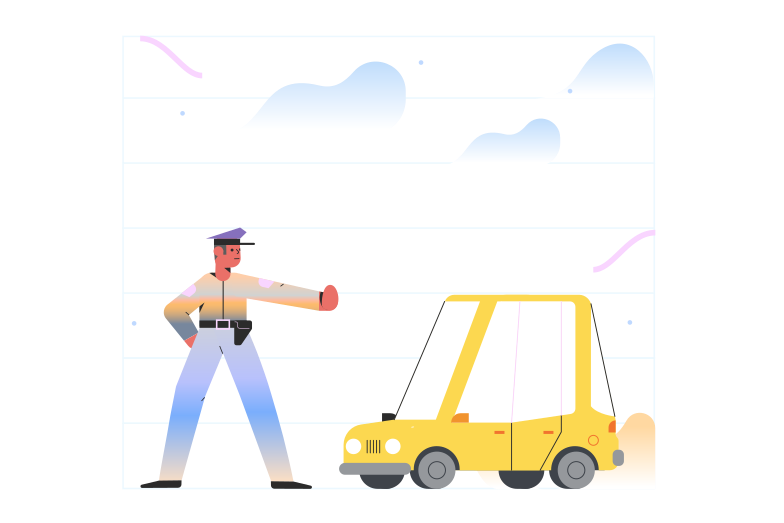 Police stopping car Clipart illustration in PNG, SVG
