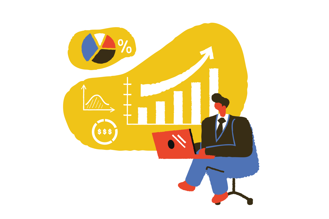 Businessman working with laptop Clipart illustration in PNG, SVG