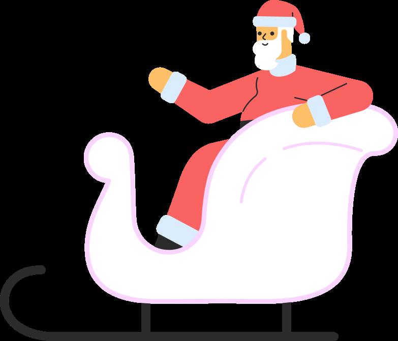 santa in sledge Clipart illustration in PNG, SVG