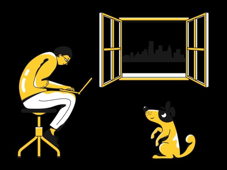 Illustration clipart Travail à domicile aux formats PNG, SVG