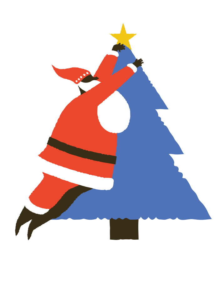 Santa decorates Christmas tree Clipart illustration in PNG, SVG