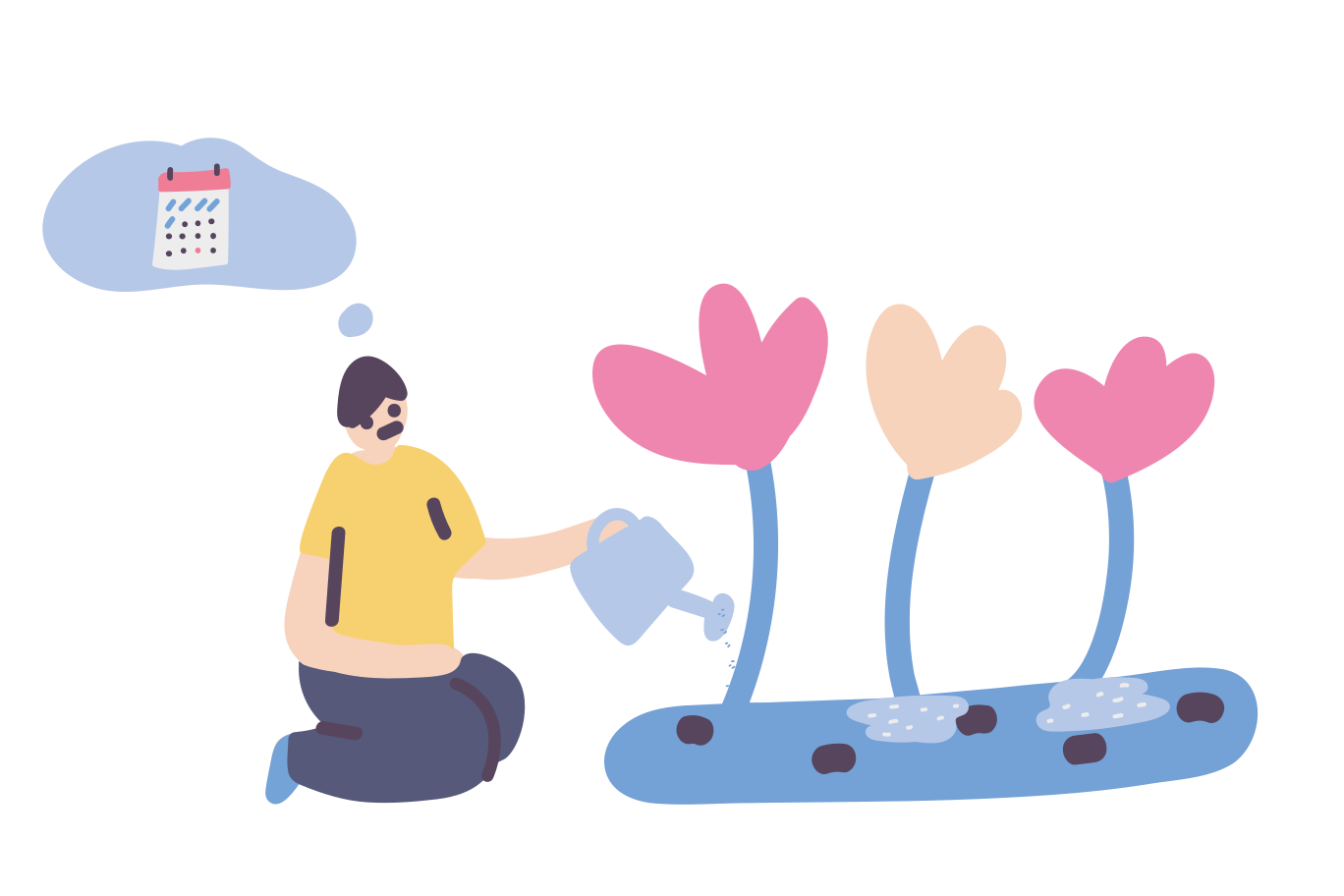 It's time to water the flowers Clipart illustration in PNG, SVG