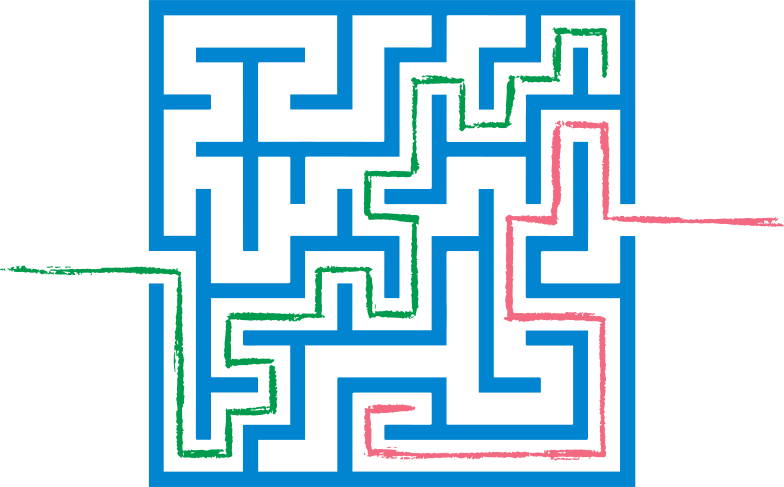 red and green path maze Clipart-Grafik als PNG, SVG