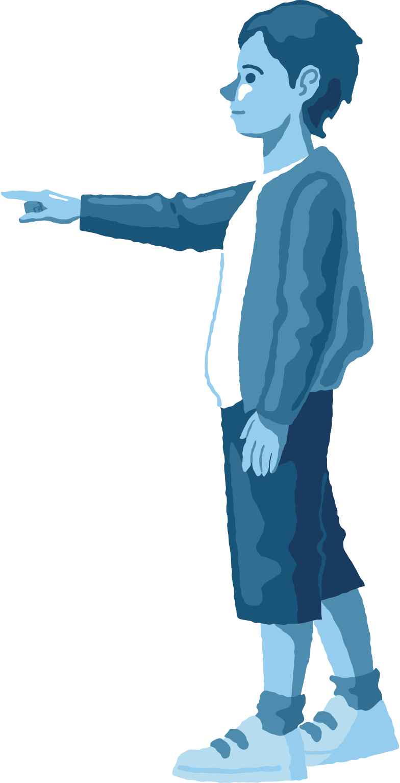 boy pointing profile Clipart illustration in PNG, SVG