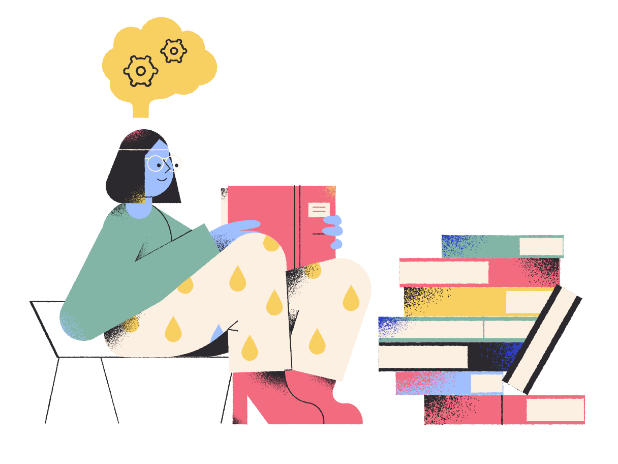 Reading books Clipart illustration in PNG, SVG