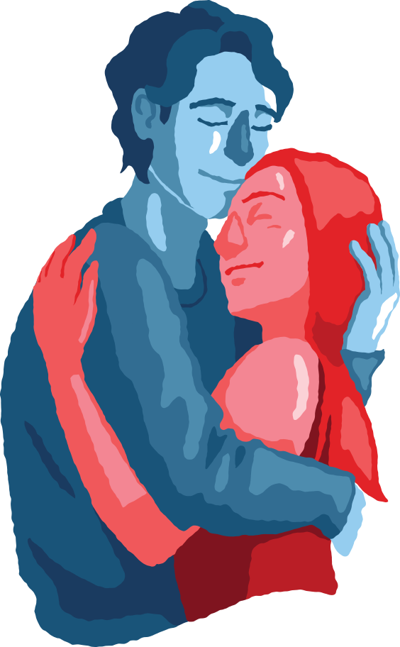 man and woman couple hugging Clipart illustration in PNG, SVG