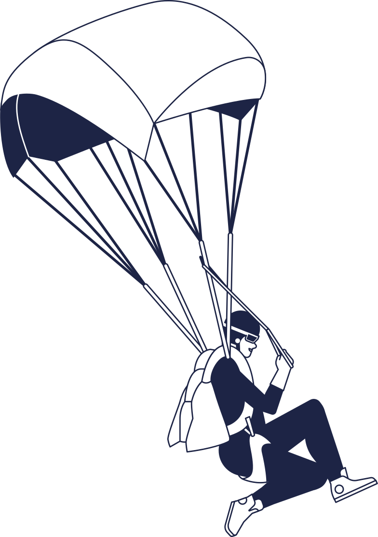 parashutist line Clipart illustration in PNG, SVG