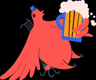Иллюстрация птица почтальон на стуле с пивом в стиле  в PNG и SVG   Icons8 Иллюстрации