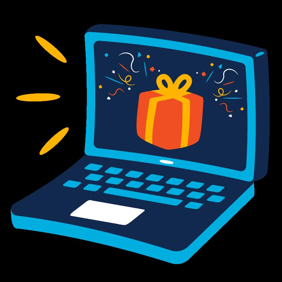 Online gift Clipart illustration in PNG, SVG