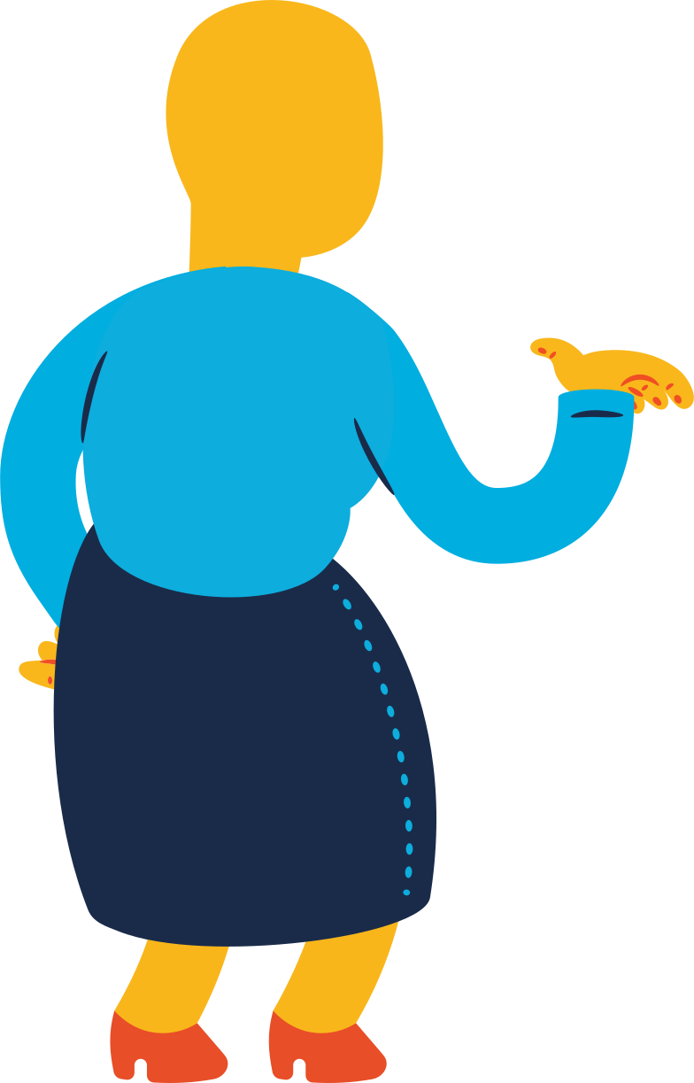 old woman standing back profile Clipart illustration in PNG, SVG