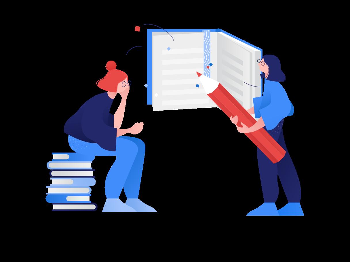 Girls study together Clipart illustration in PNG, SVG