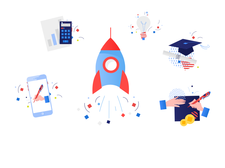 Successful launch starter pack Clipart illustration in PNG, SVG