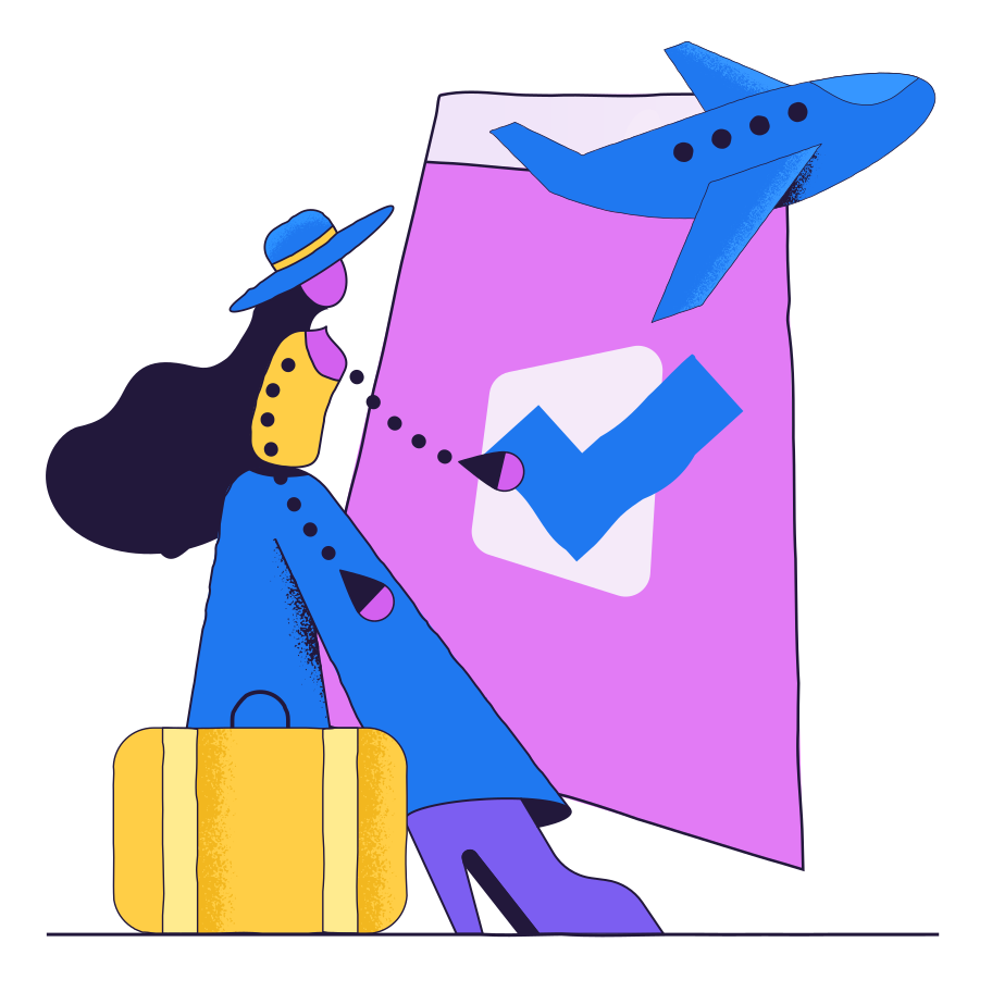 Booking a flight Clipart illustration in PNG, SVG