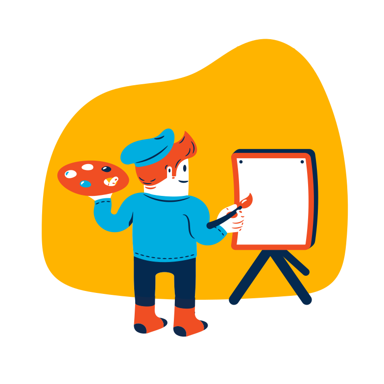 Painter is drawing Clipart illustration in PNG, SVG