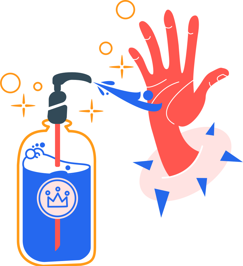 washing hands with an antiseptic copy Clipart illustration in PNG, SVG