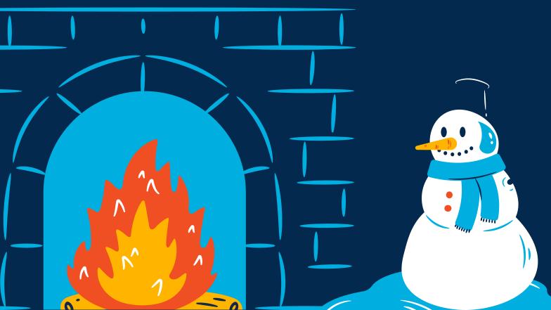 Ilustración de clipart de Muñeco de nieve se derrite frente al fuego en PNG, SVG
