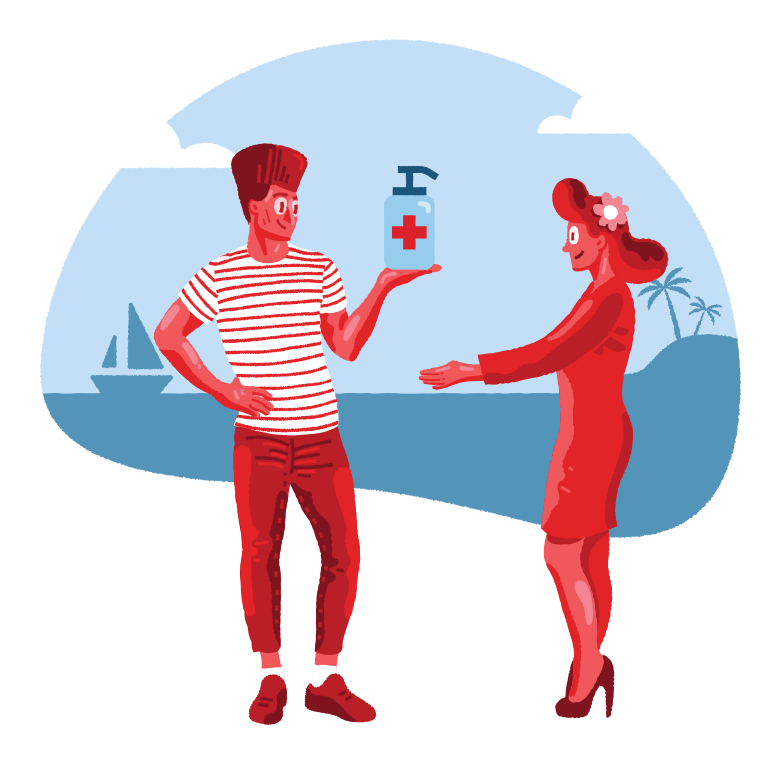style Romance on the beach during pandemic Vector images in PNG and SVG | Icons8 Illustrations