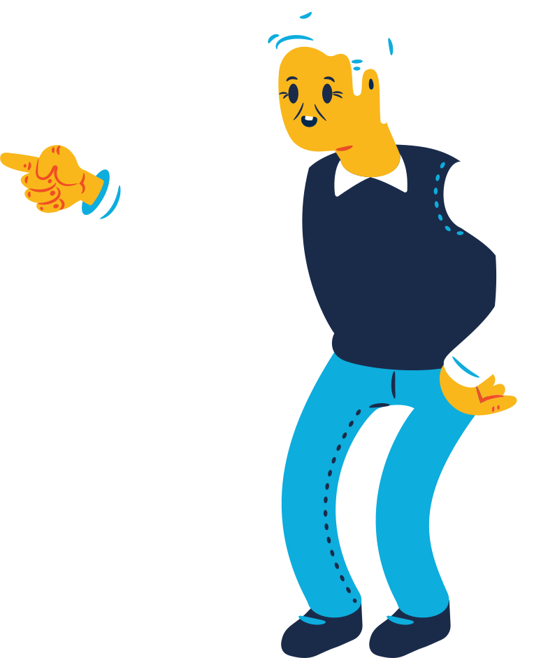 old man with face pointing Clipart illustration in PNG, SVG