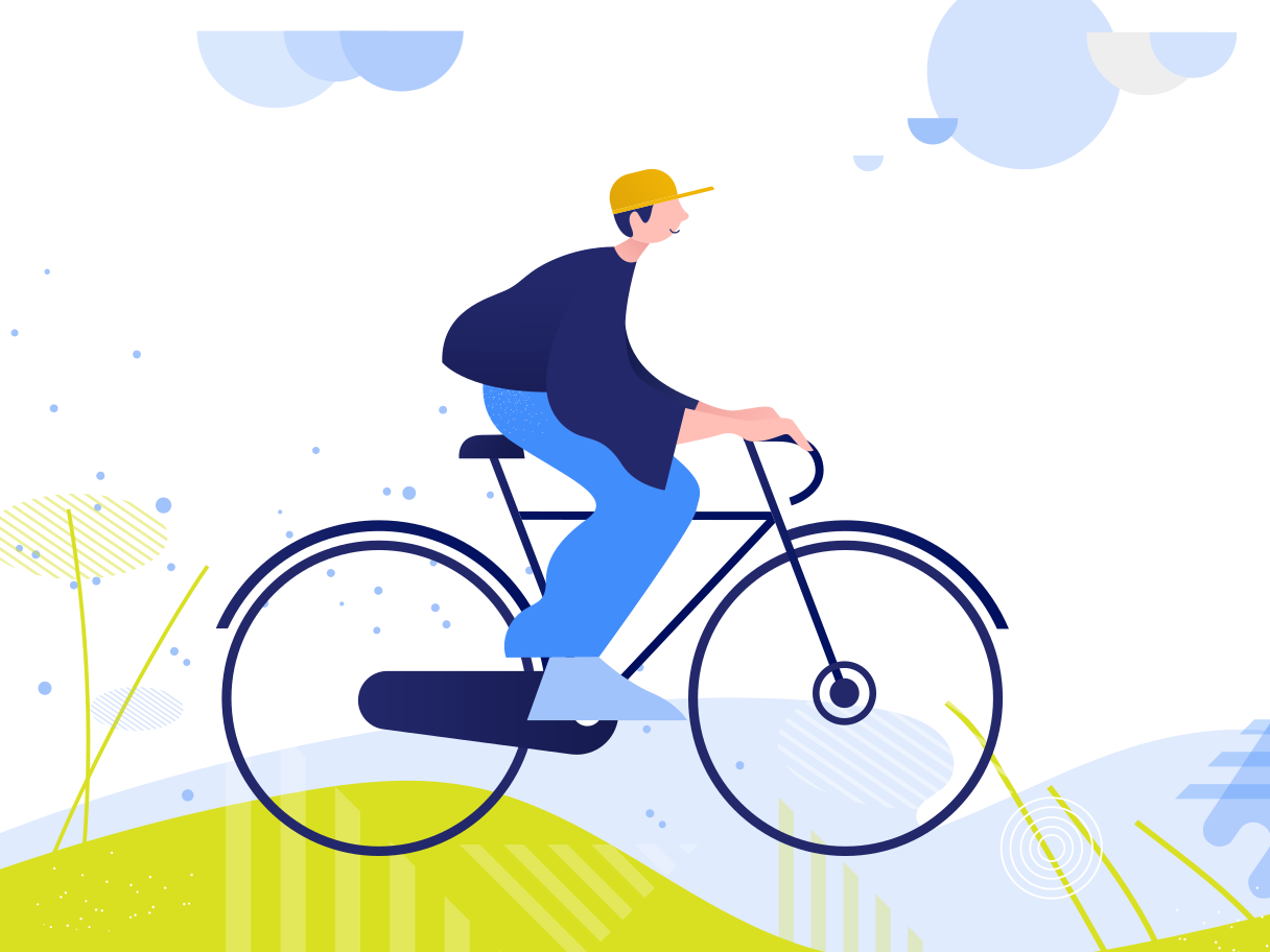 Cycling around parks and other recreational areas. Clipart illustration in PNG, SVG