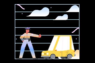 Иллюстрация Полицейская остановка машины в стиле  в PNG и SVG | Icons8 Иллюстрации