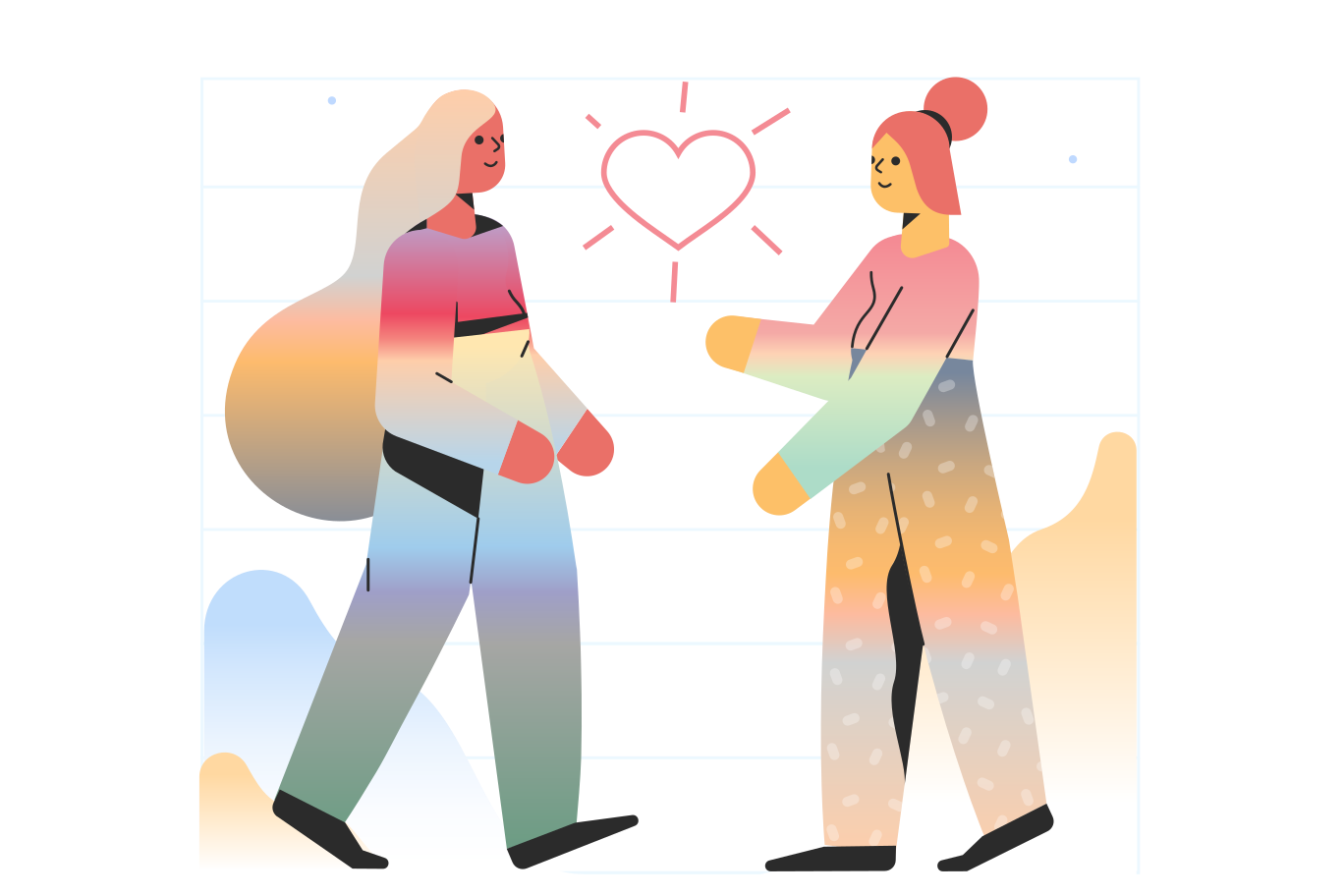 Couple meeting Clipart illustration in PNG, SVG