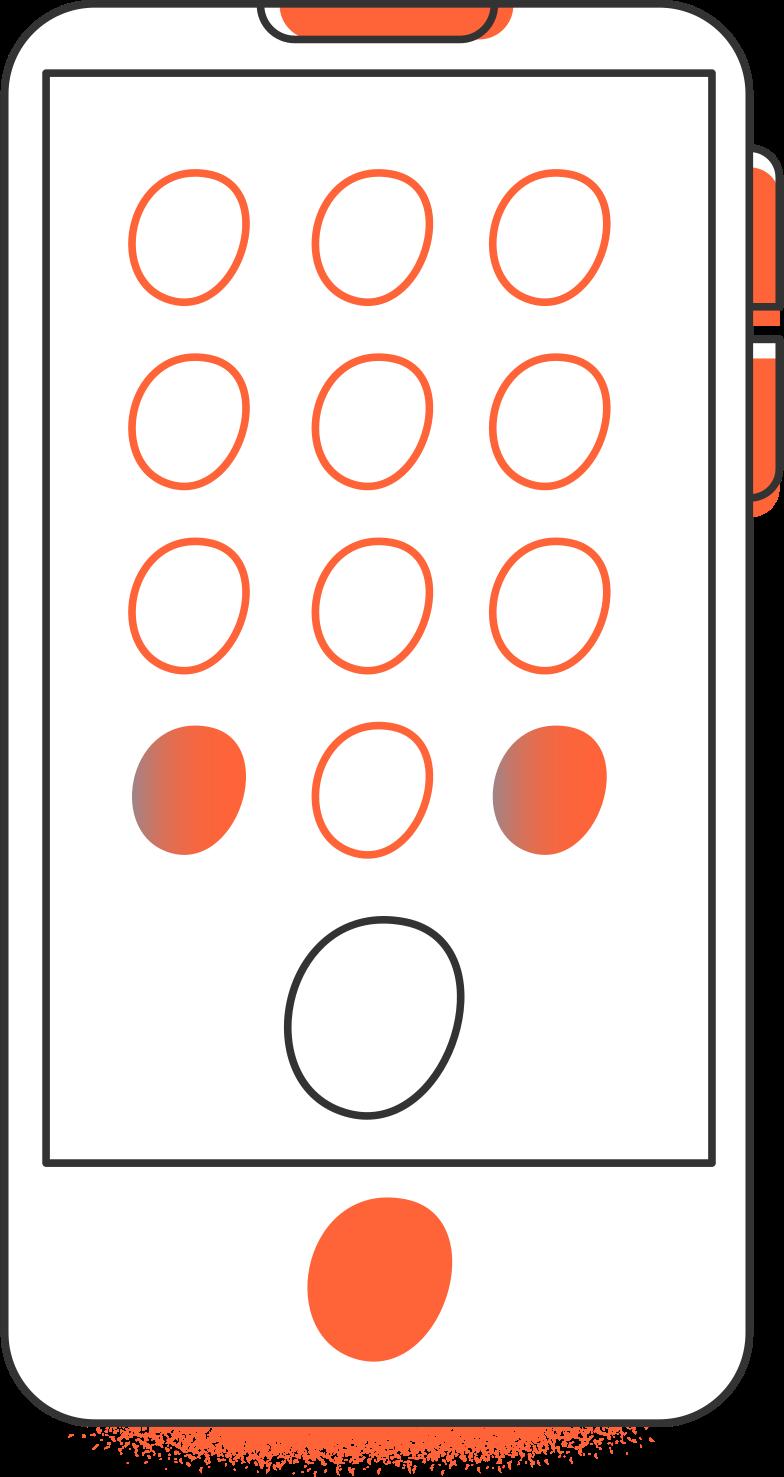 Illustration clipart smartphone arrière aux formats PNG, SVG