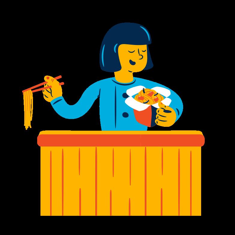 Style  Femme mange des nouilles Images vectorielles en PNG et SVG | Icons8 Illustrations