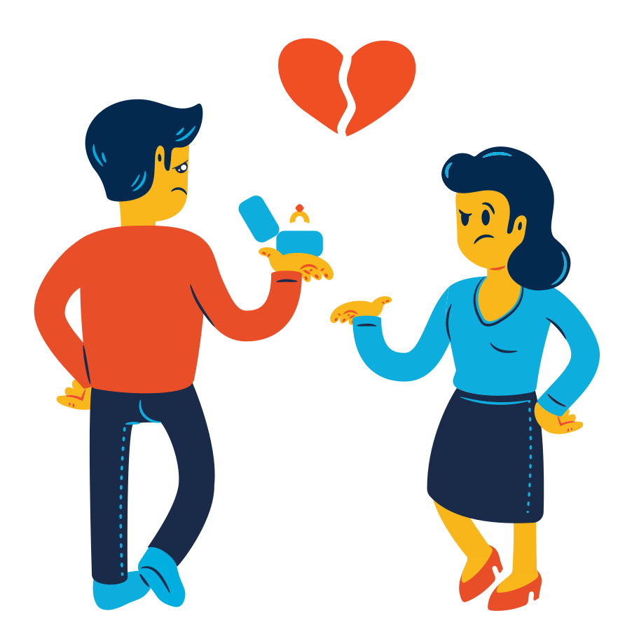 Failed marriage proposal Clipart illustration in PNG, SVG