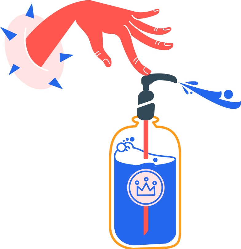 antiseptic and left hand without bubbles Clipart illustration in PNG, SVG